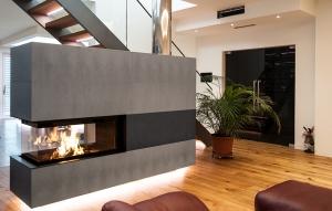 Heizkamin Raumteiler Betonverkleidung