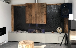 Kaminbank mit Aufbewahrung Beton Holz